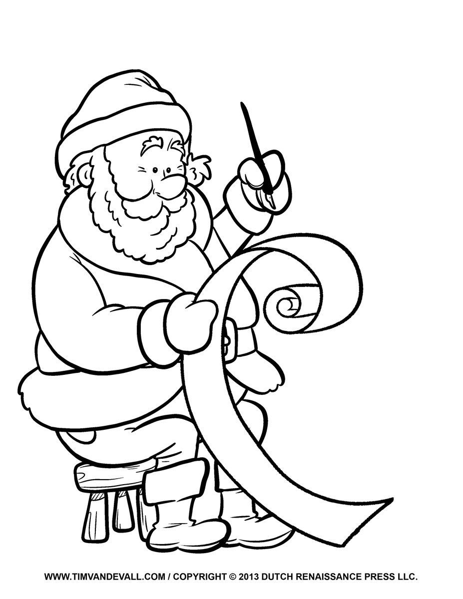 Santa List Coloring Pages With Free Clip Art Pictures Letter Template