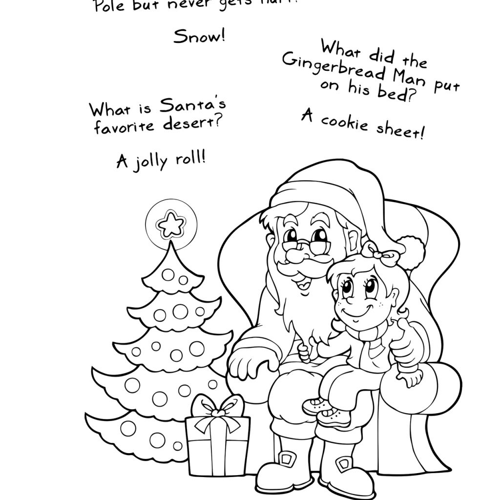 Santa List Coloring Pages With Free Printable Christmas Jokes And
