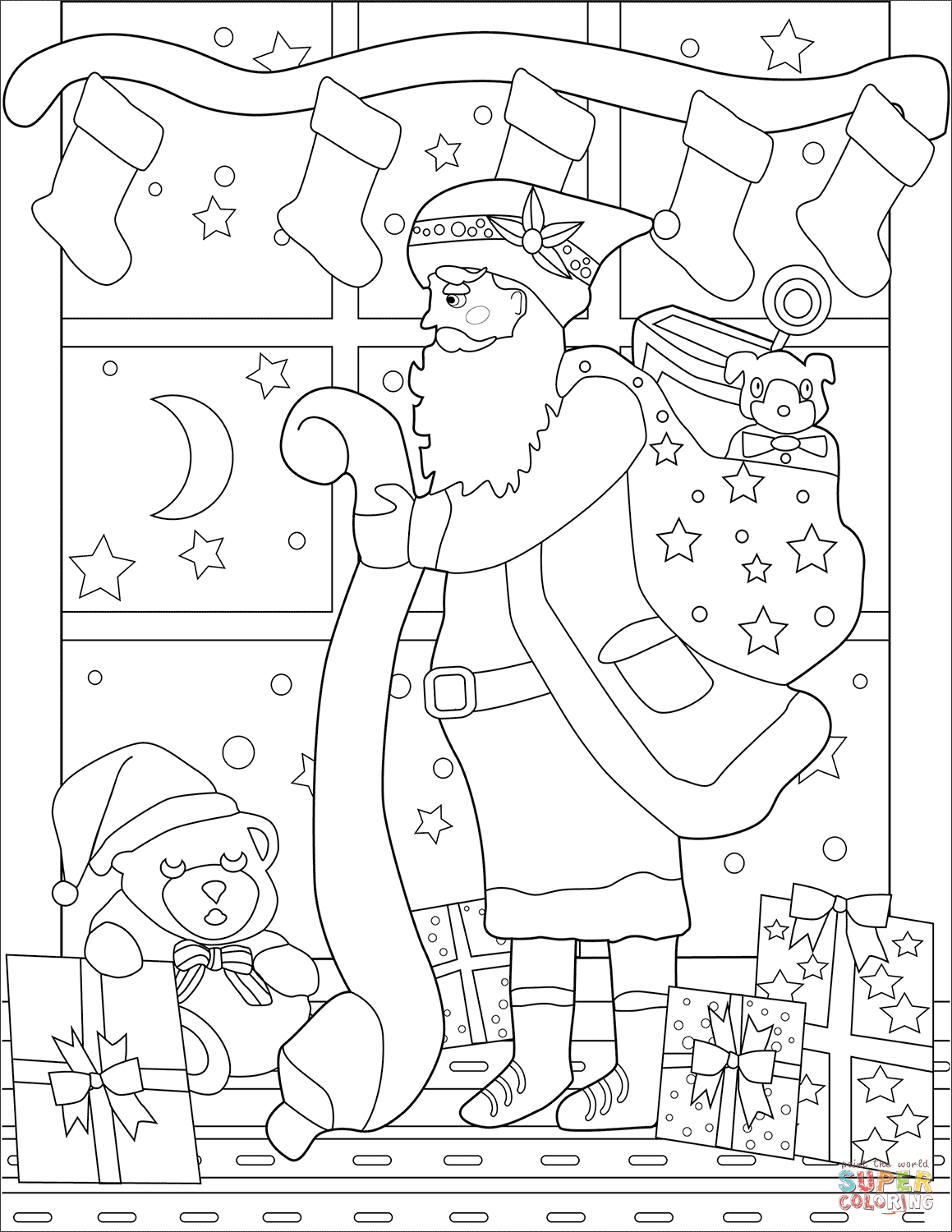 Santa List Coloring Pages With His Page Free Printable