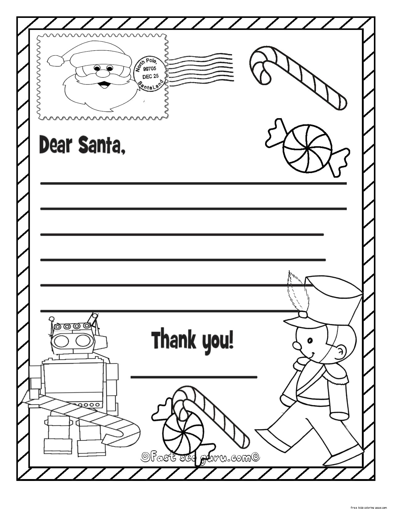 Santa List Coloring Pages With Printable Christmas Wish To Claus For Kids Kidsfree