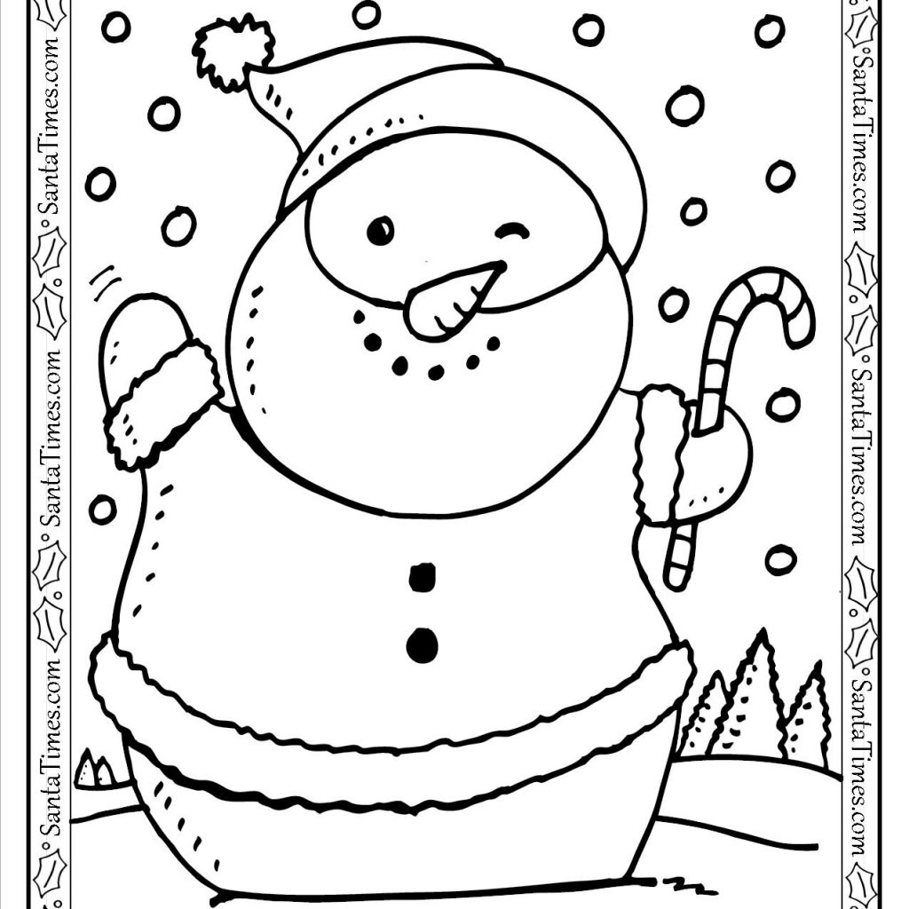 Santa List Coloring Pages With Snowman Printable Page