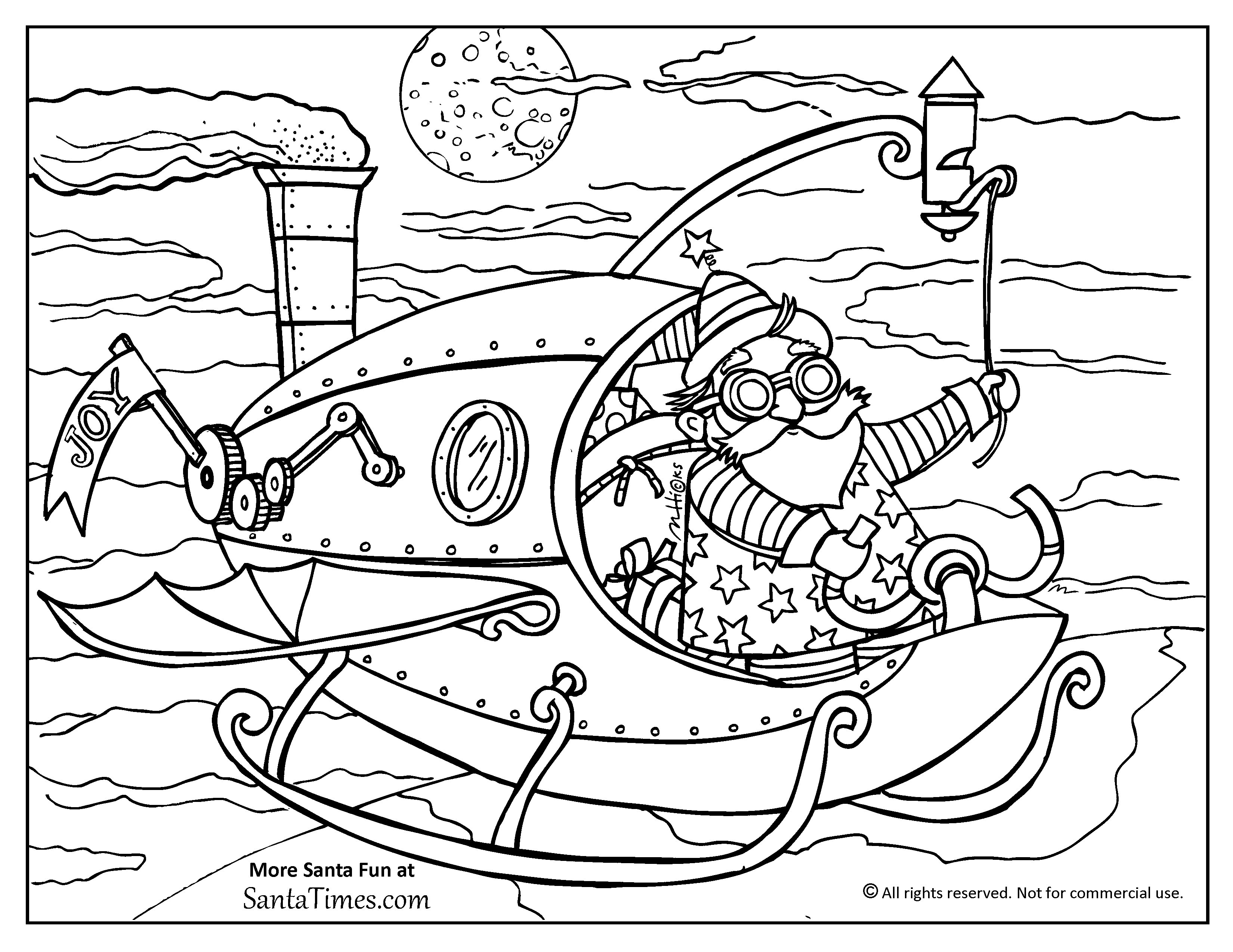 Santa List Coloring Pages With Steampunk Page