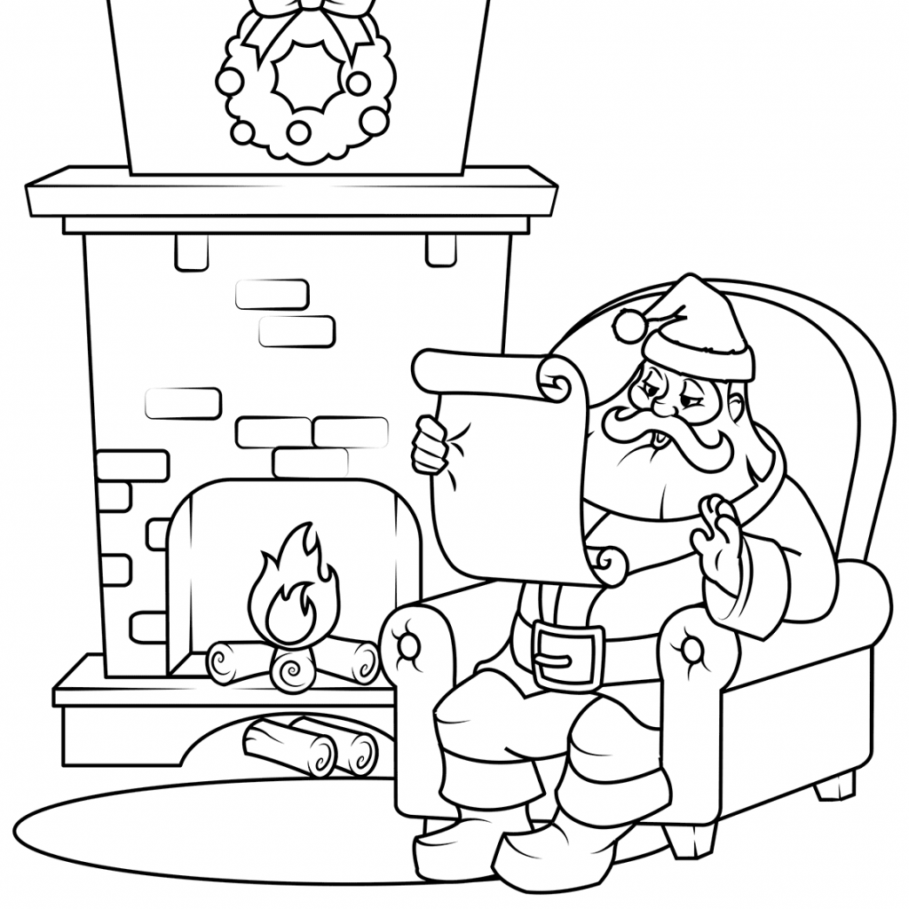 Santa List Coloring Sheet With Checking His Page Free Printable Pages