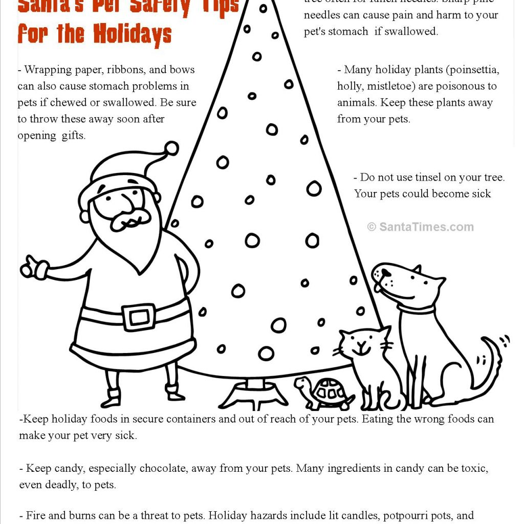 Santa List Coloring Sheet With Pet Safety Page Covington Veterinary