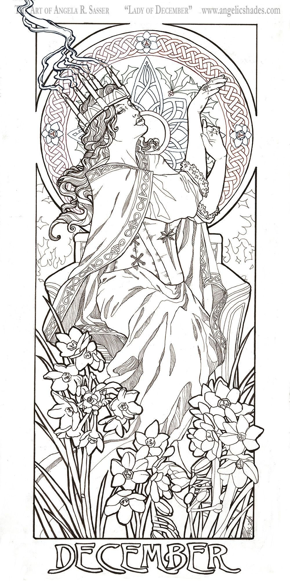 Santa Lucia Coloring Pages With Lady Of December Line Art Traditional Version By AngelaSasser