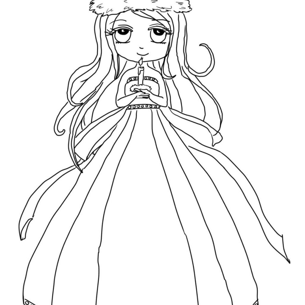 Santa Lucia Coloring Sheets With Cute St Girl Page Free Printable Pages
