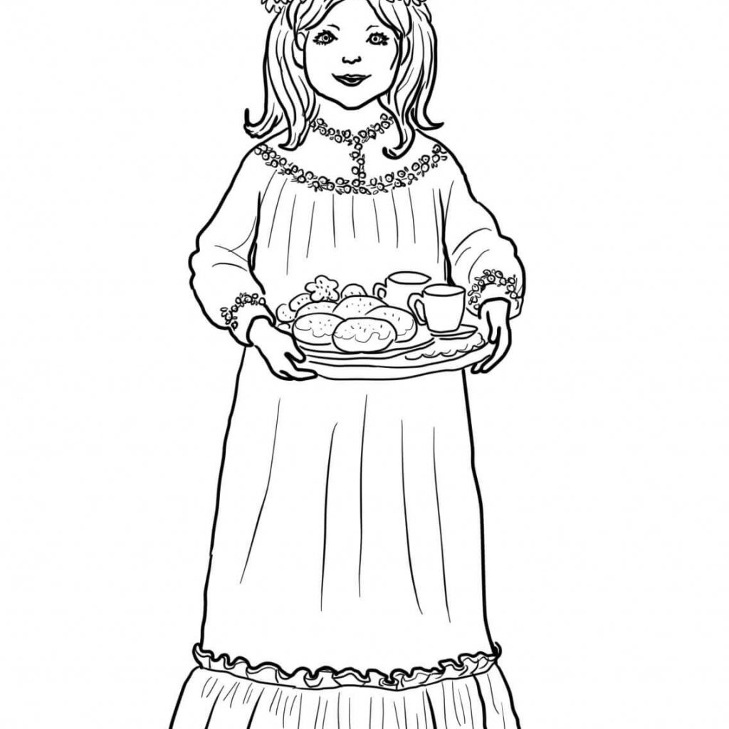 Santa Lucia Coloring Sheets With Find Christmas In Sweden Ausmalbild Sankt