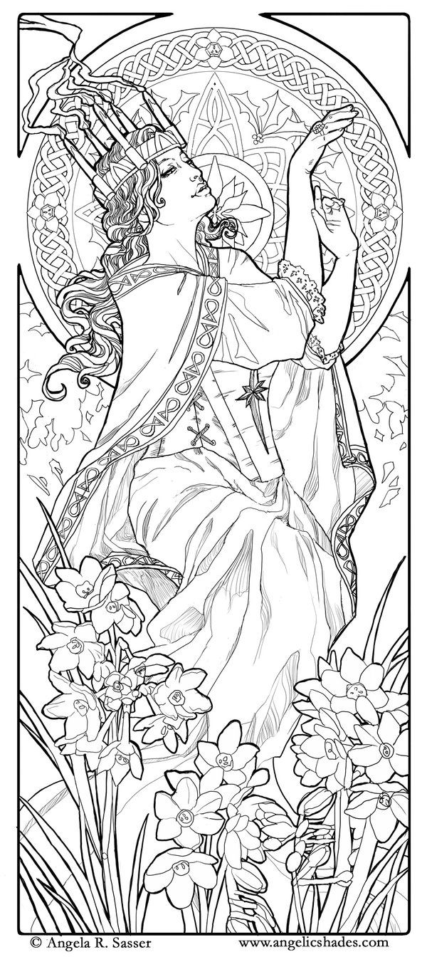 Santa Lucia Coloring Sheets With Lady Of December Line Art By AngelaSasser On DeviantART Tattoo