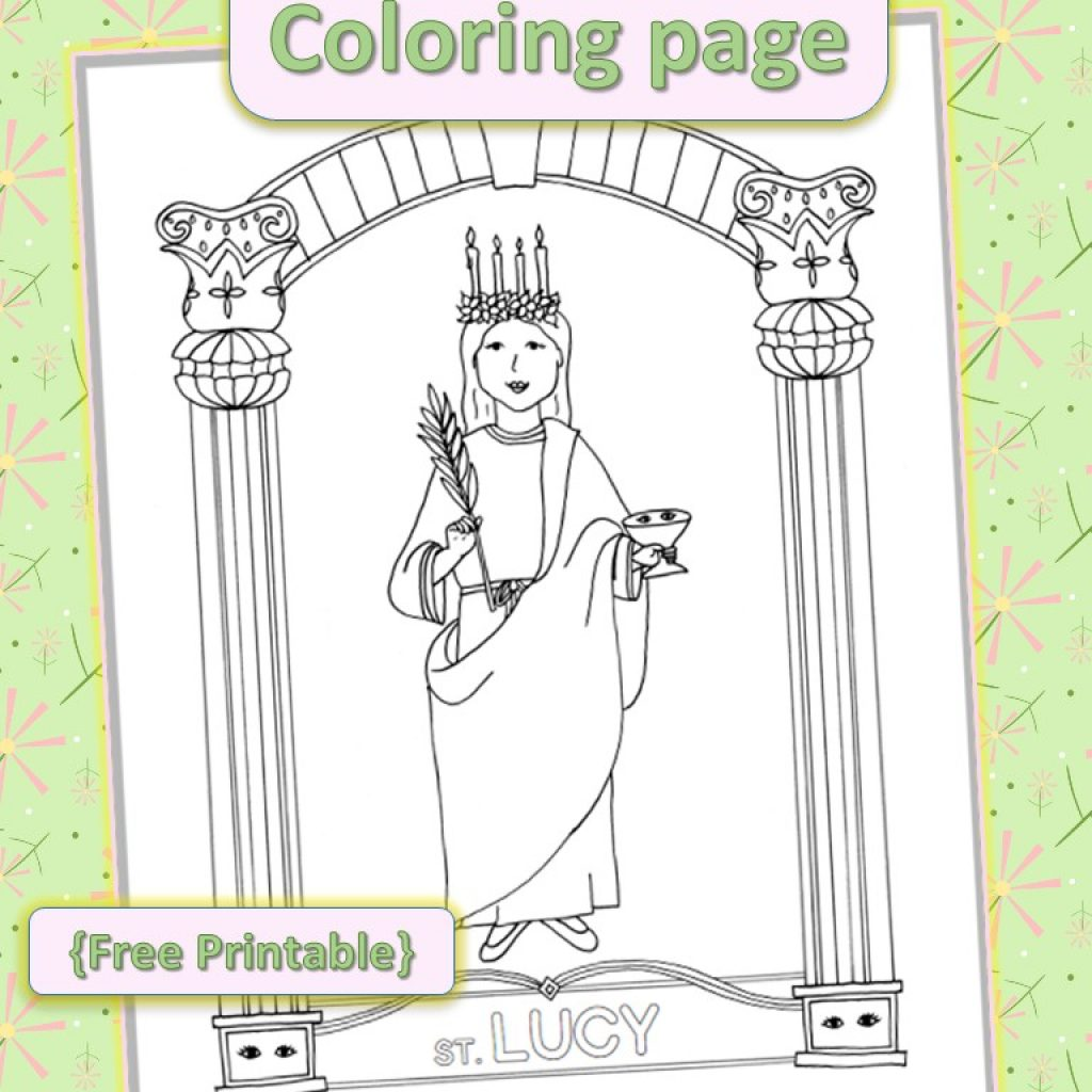 Santa Lucia Coloring Sheets With Saint Lucy Page Free Printable Drawn2BCreative