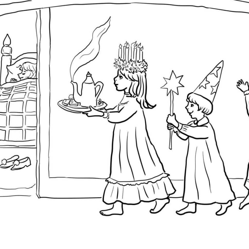 Santa Lucia Coloring Sheets With St S Day Page Free Printable Pages