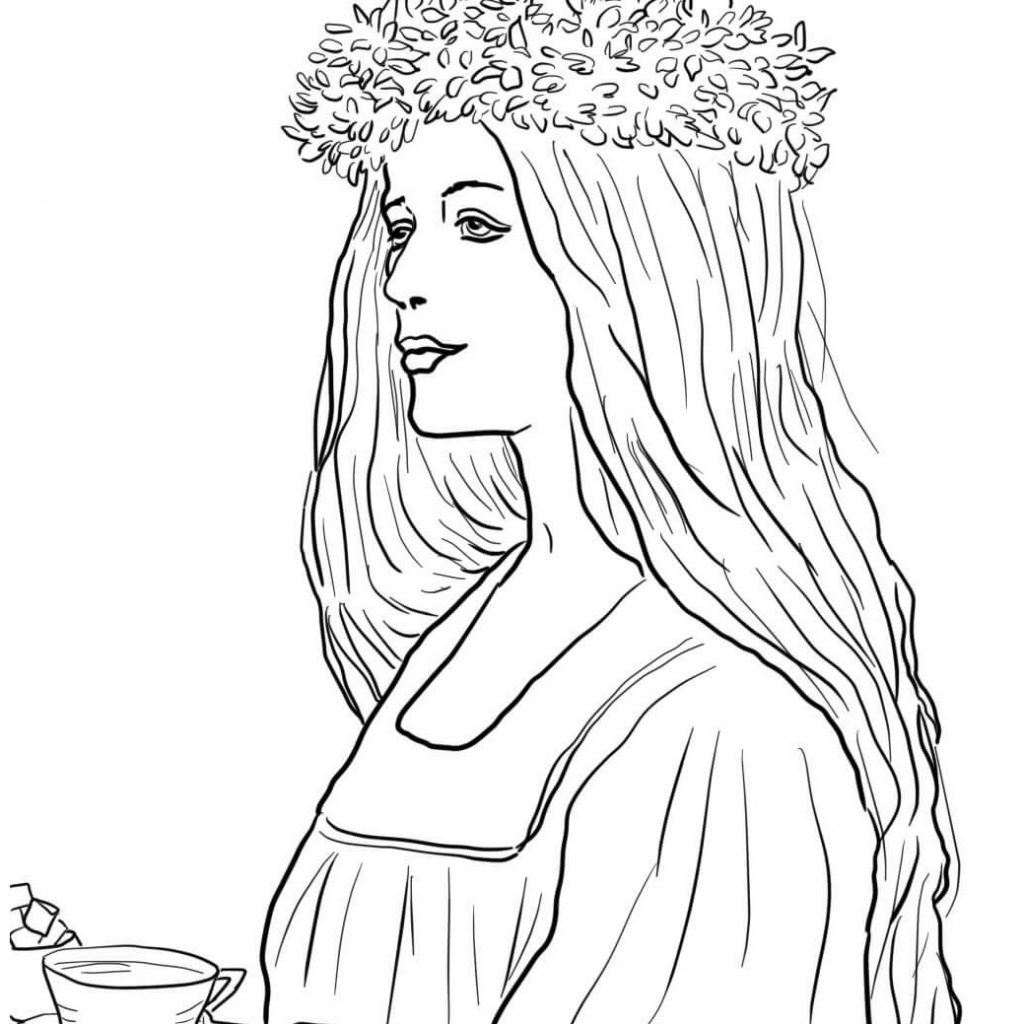 Santa Lucia Coloring Sheets With Swedish Fika Page Pages 1 Wordsare Me