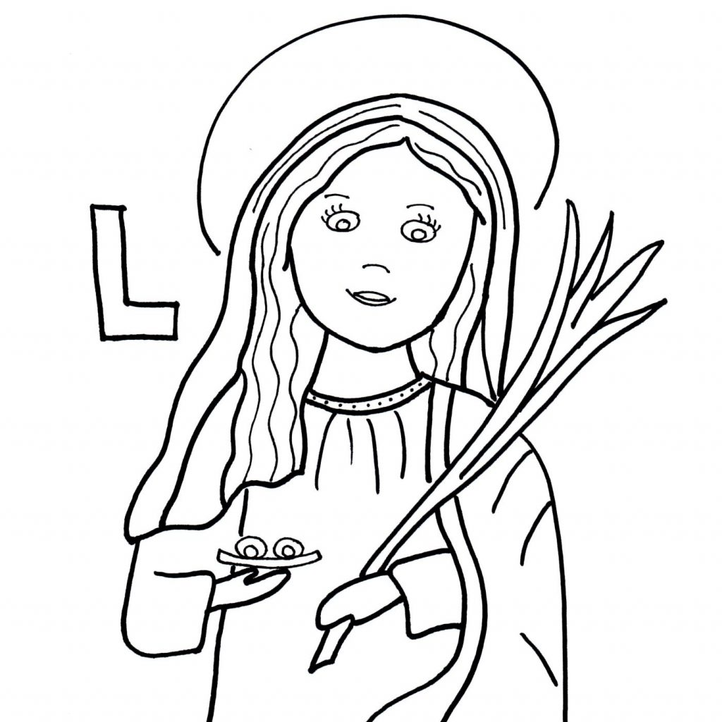 Santa Lucia Coloring With L Is For St Lucy Saints To Color