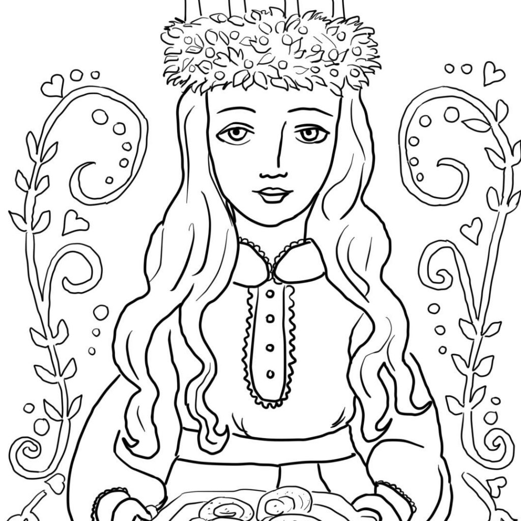 Santa Lucia Coloring With Pages Advent Activities Pinterest