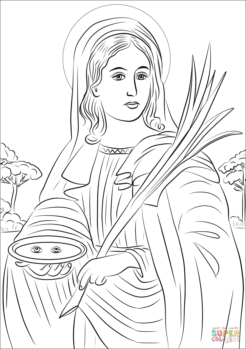 Santa Lucia Coloring With Saint Lucy Page Free Printable Pages
