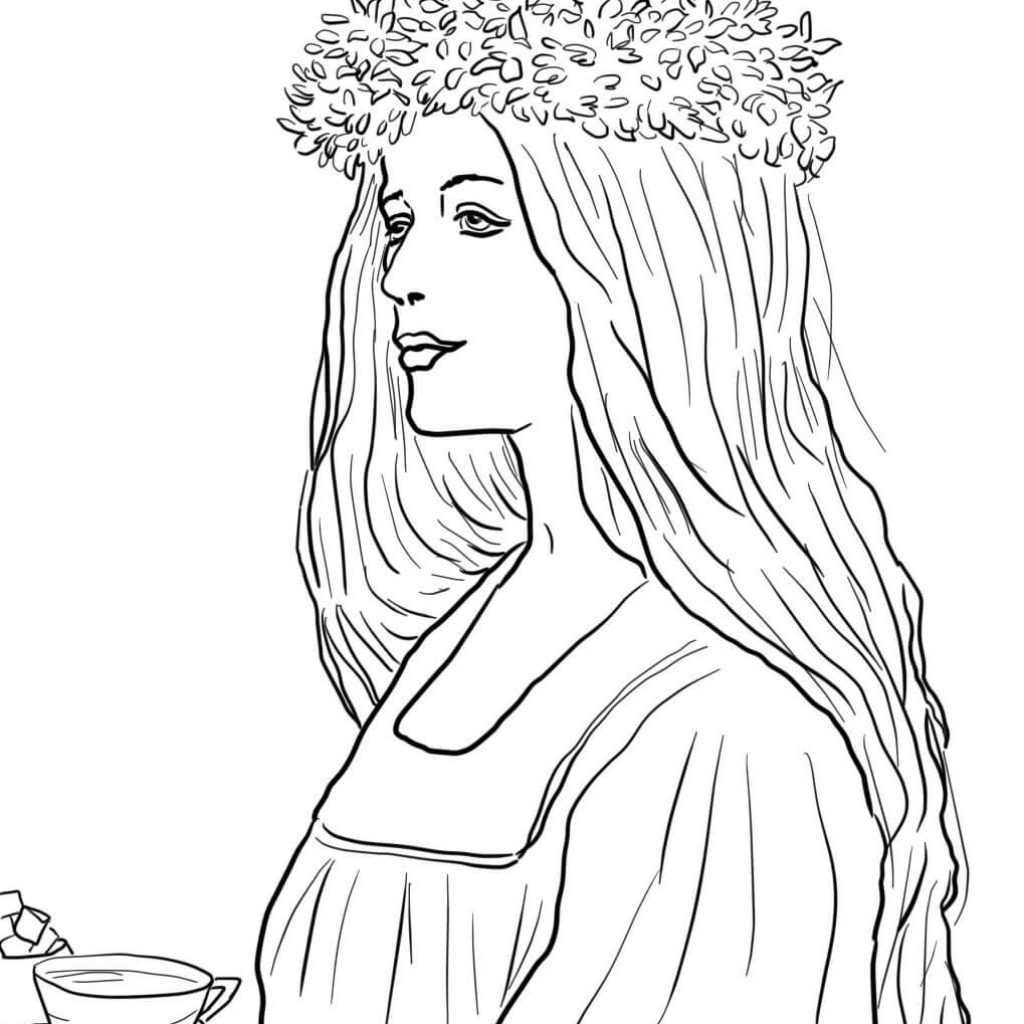 Santa Lucia Coloring With St In Sweden Page Free Printable Pages