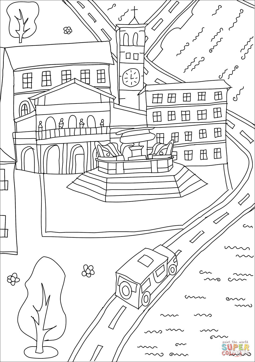Santa Maria Coloring Page With Basilica Of In Trastevere Free Printable