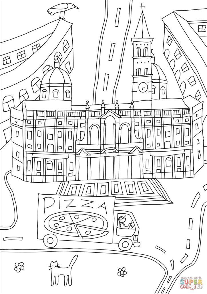 Santa Maria Coloring Page With Basilica Of Maggiore Free Printable