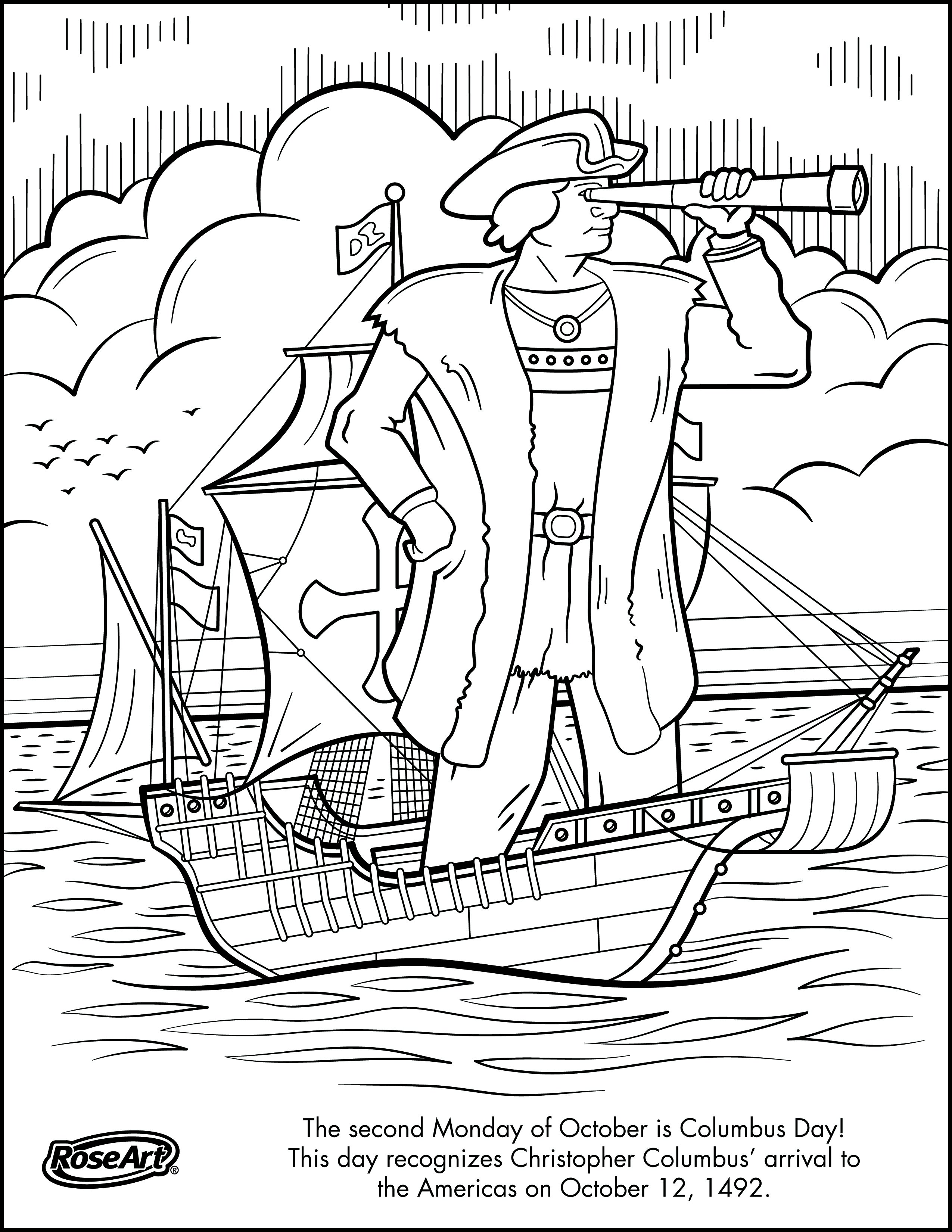 Santa Maria Coloring Page With Christopher Columbus Pages Collection Free Books