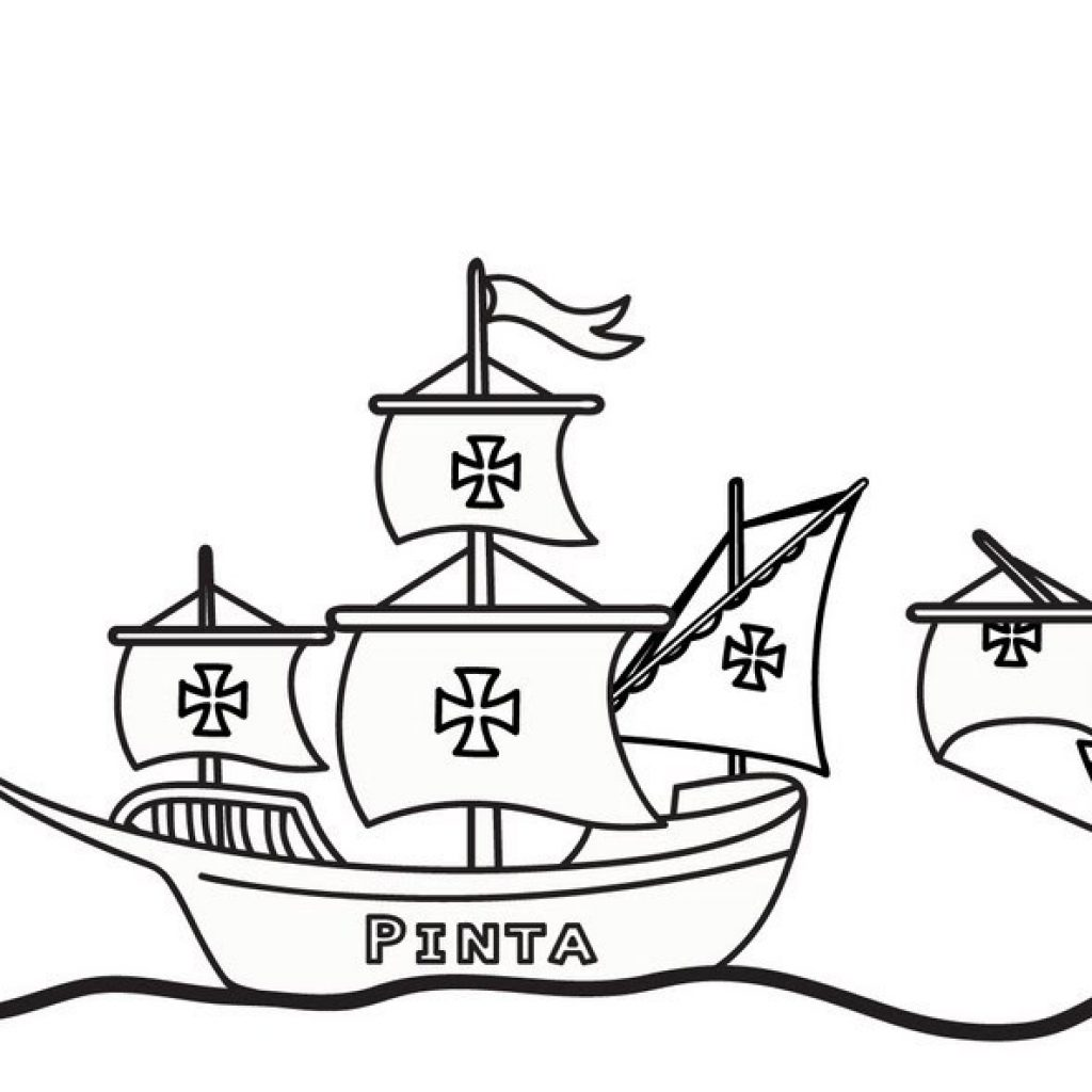 Santa Maria Coloring Page With Columbus Day Pages Best For Kids