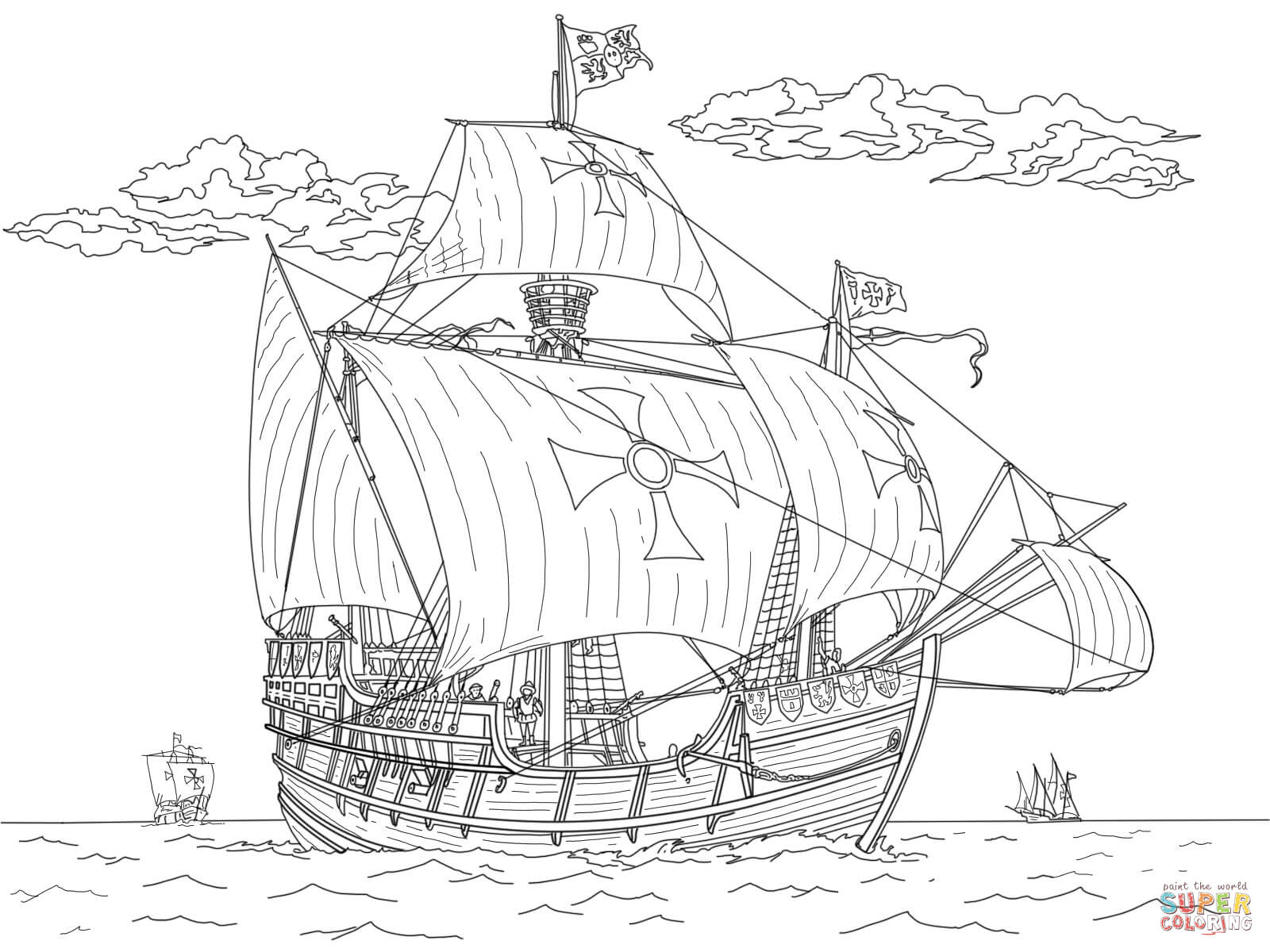 Santa Maria Coloring Page With Pinta Free Printable Pages