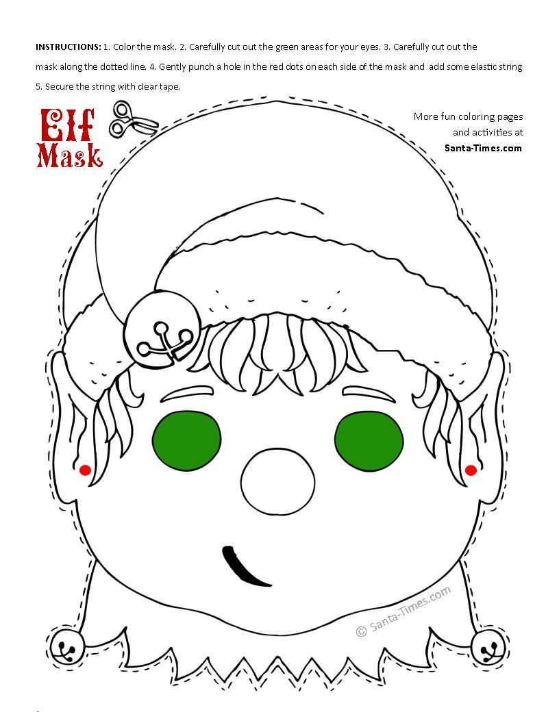 Santa Mask Coloring Page With Christmas Elf Printable More Fun Activities And