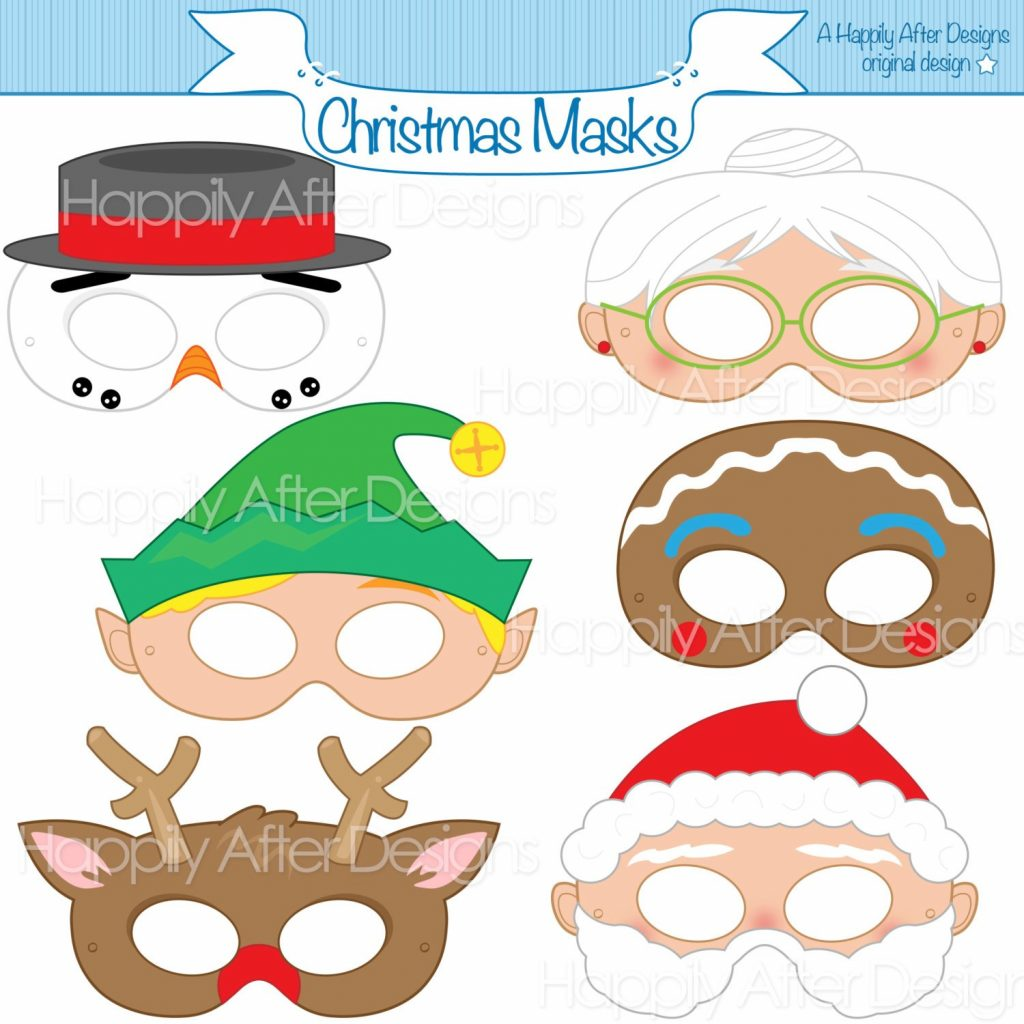 Santa Mask Coloring Page With Christmas Printable Masks Snowman Rudolph Etsy