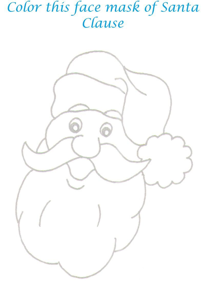 Santa Mask Coloring Page With Claus Face Outline