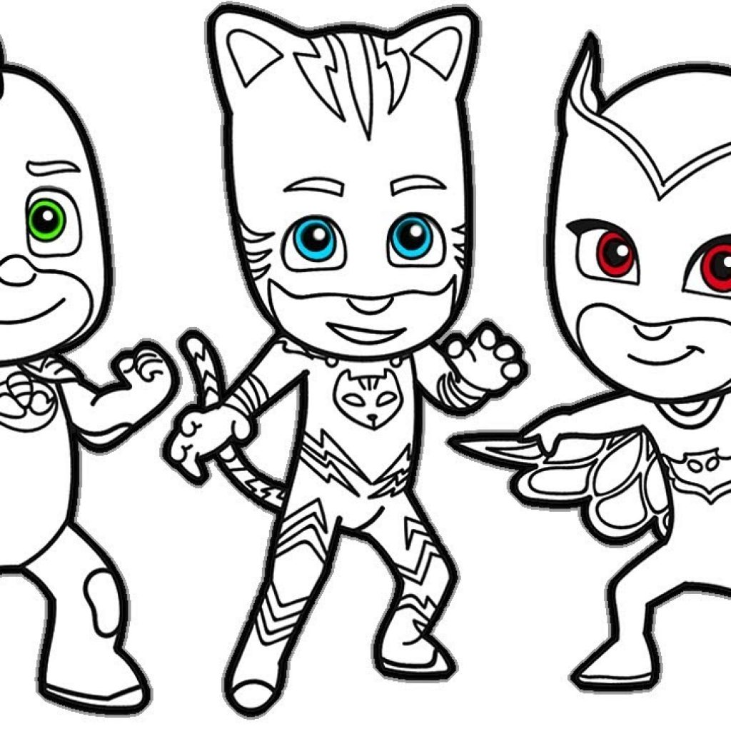 Santa Mask Coloring Page With PJ MASKS Pages How To Draw And Color Catboy Gekko