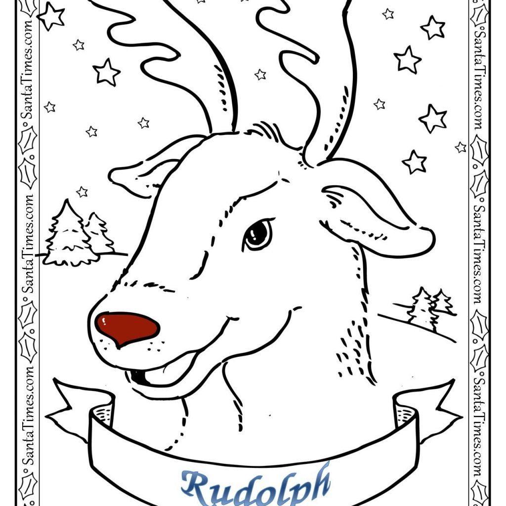 Santa Mask Coloring Page With Rudolph The Red Nosed Reindeer There S More Fun