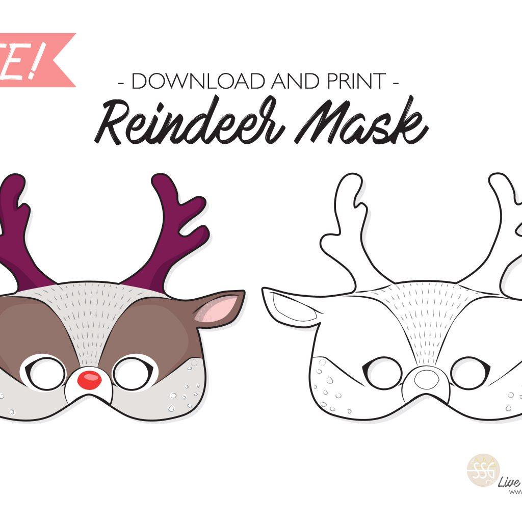 Santa Mask Coloring Page With Sit Stay GO Free Reindeer Printable