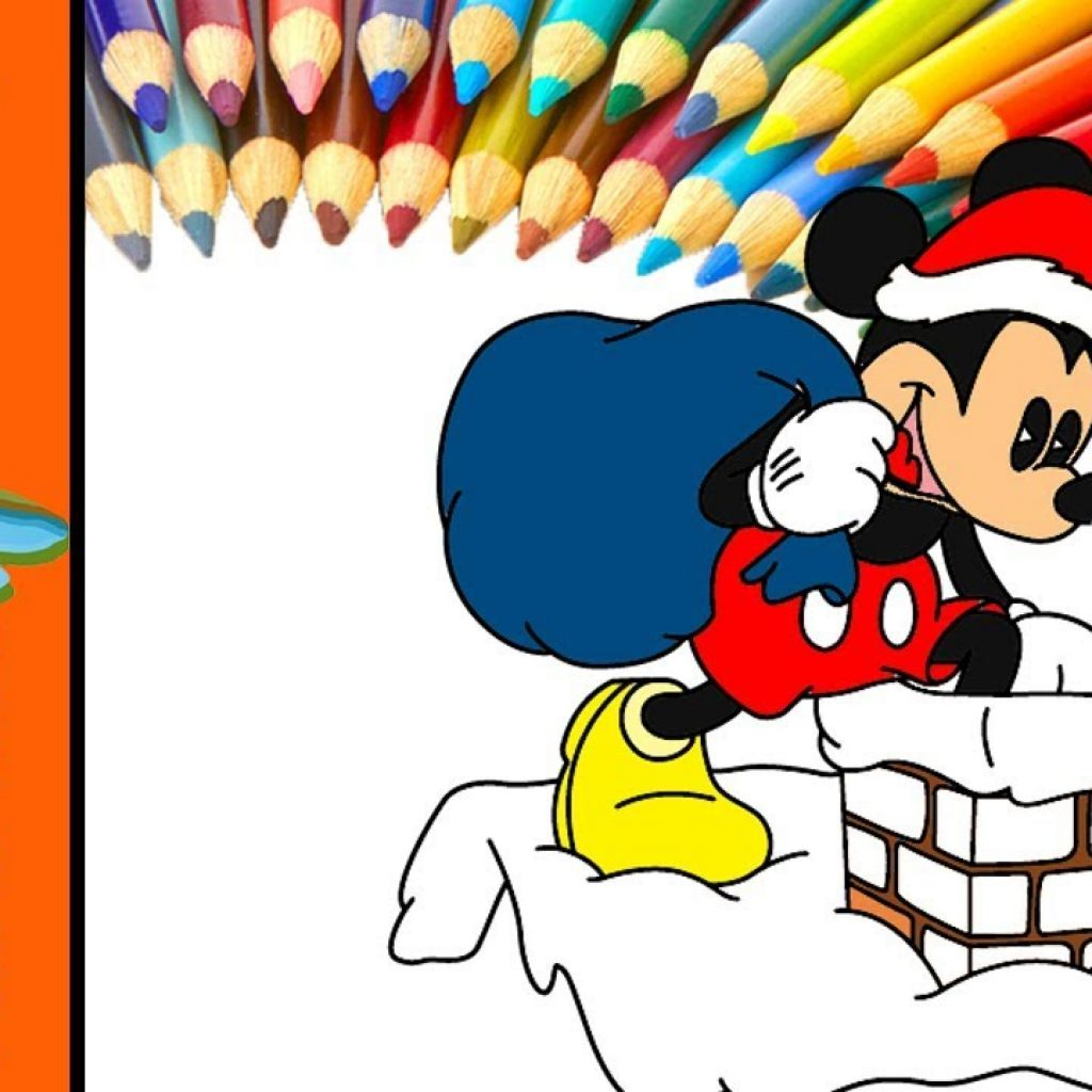 Santa Mickey Coloring Pages With Christmas Mouse Painting For Kids