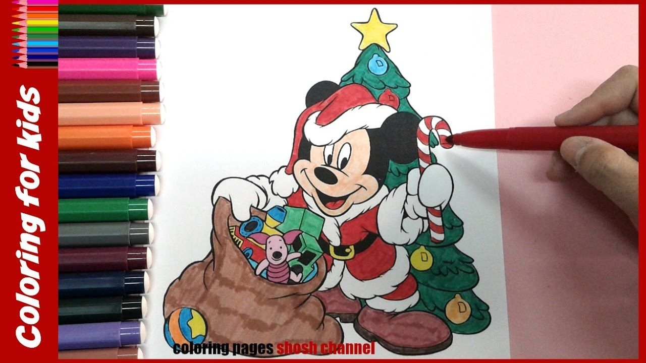 Santa Mickey Coloring Pages With Mouse Looks Like Christmas From
