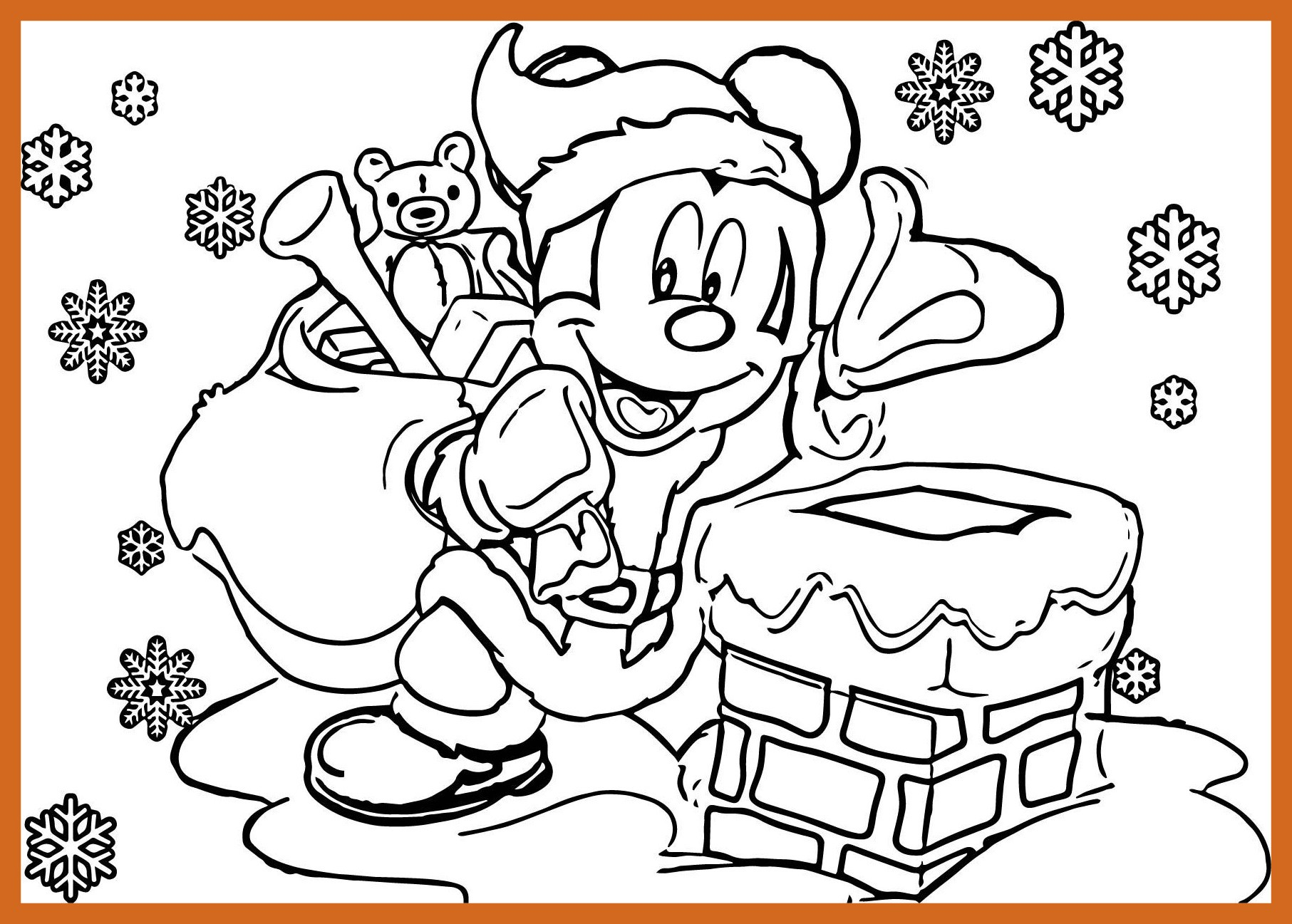 Santa Mickey Coloring Pages With Printable Page For Kids