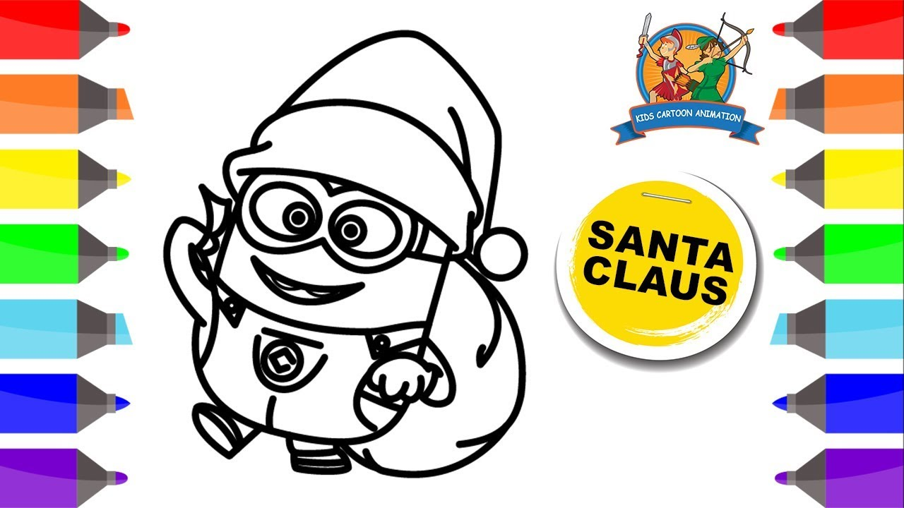 Santa Minion Coloring Pages With Claus For Kids Despicable Me