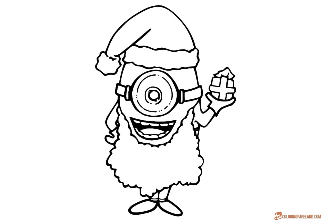 Santa Minion Coloring Pages With For Kids Free Printable Templates