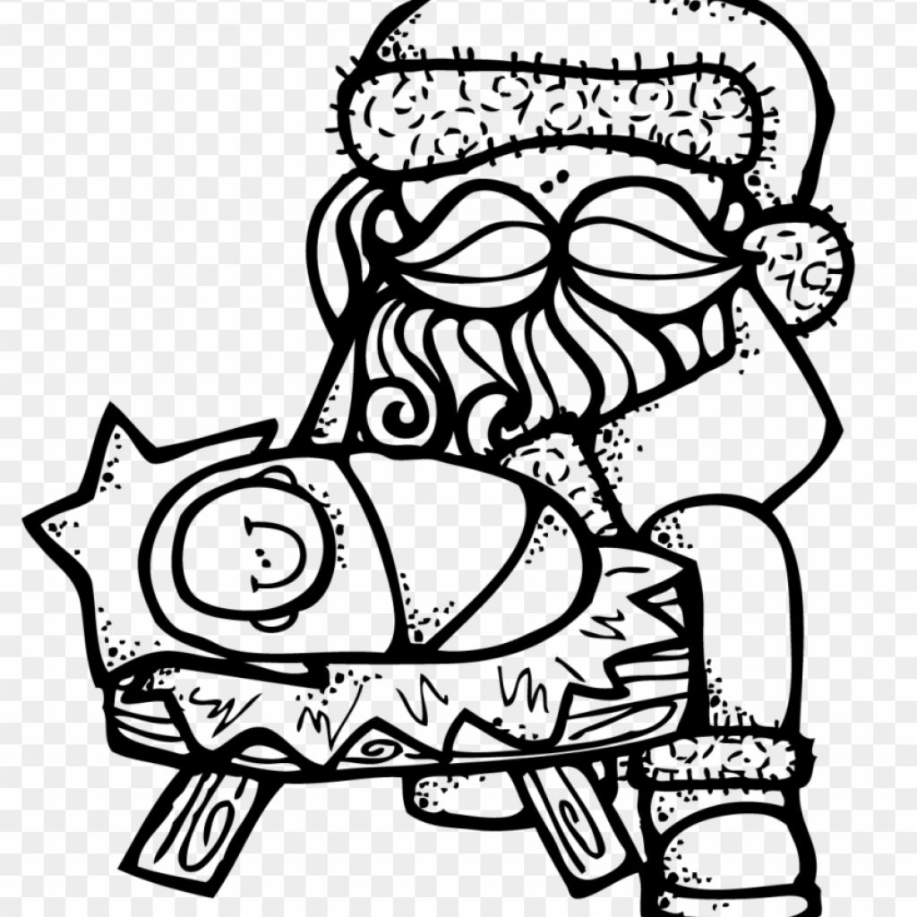Santa Mouse Coloring Pages With Baby Jesus Clip Art Page Free