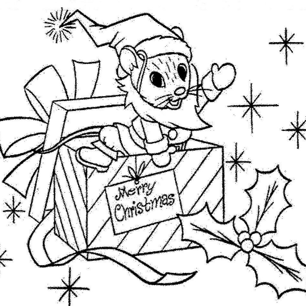 Santa Mouse Coloring Pages With Christmas Gift Page Pinterest