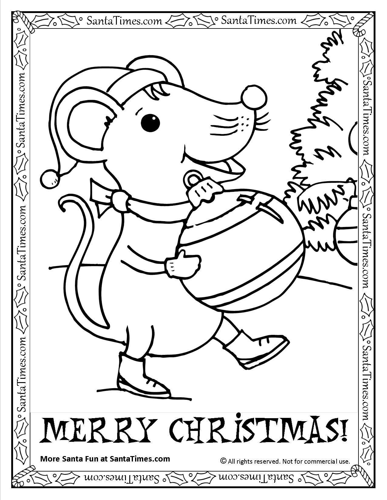 Santa Mouse Coloring Pages With Merry Christmas Printable Page