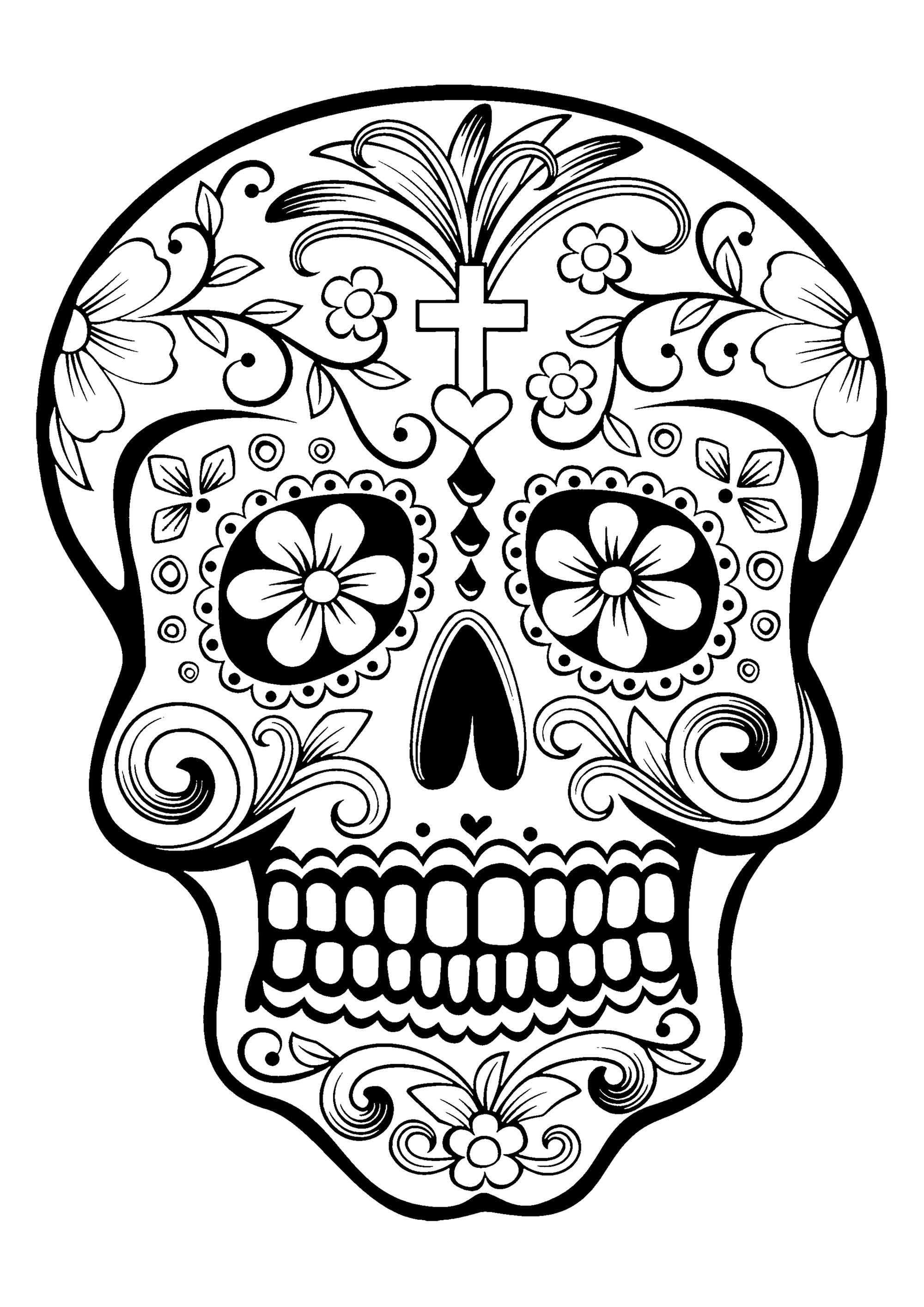 Santa Muerte Coloring Pages With El D A De Los Muertos Day Of The Dead Page Skull 1