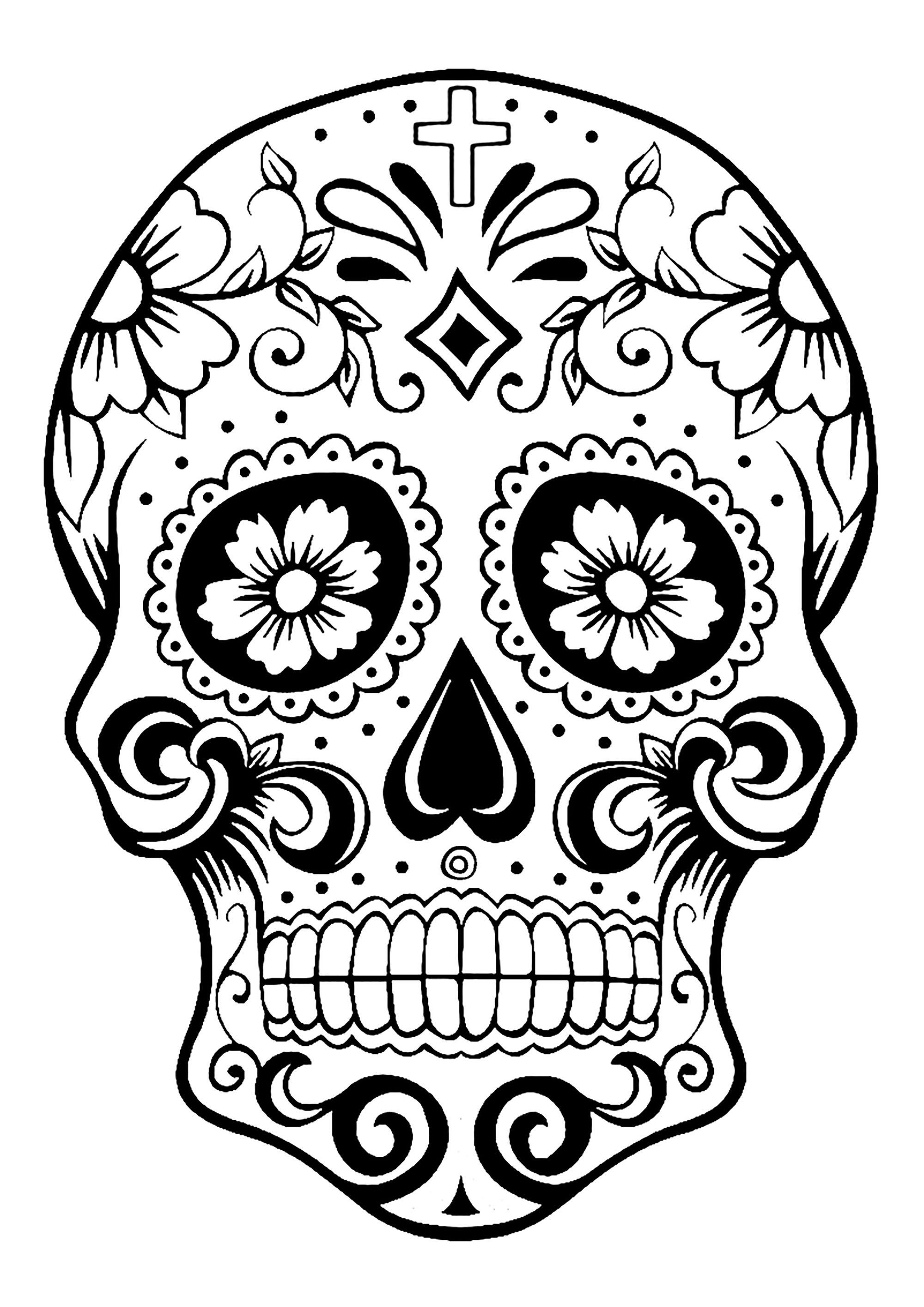 Santa Muerte Coloring Pages With El D A De Los Muertos Day Of The Dead Page Skull 2