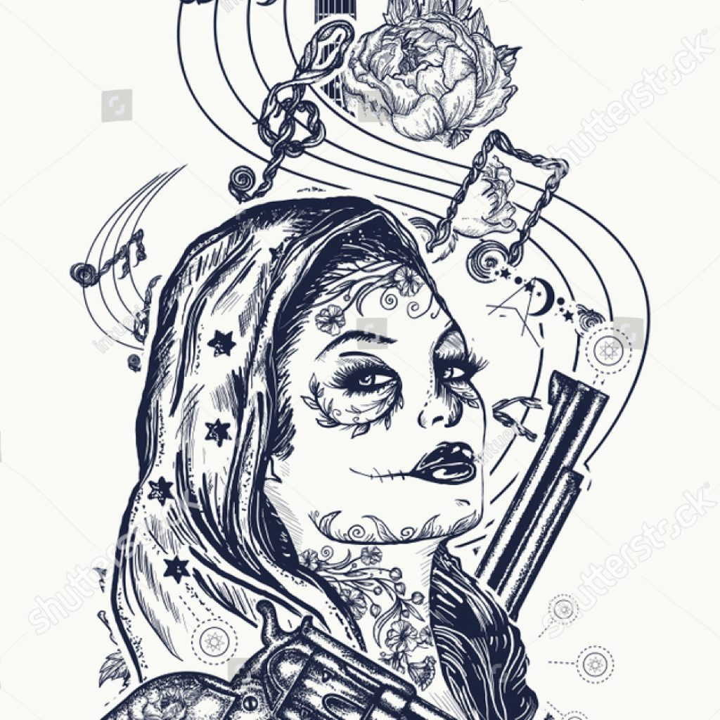 Santa Muerte Coloring Pages With Girl Electric Guitar Roses Stock Vector Royalty Free