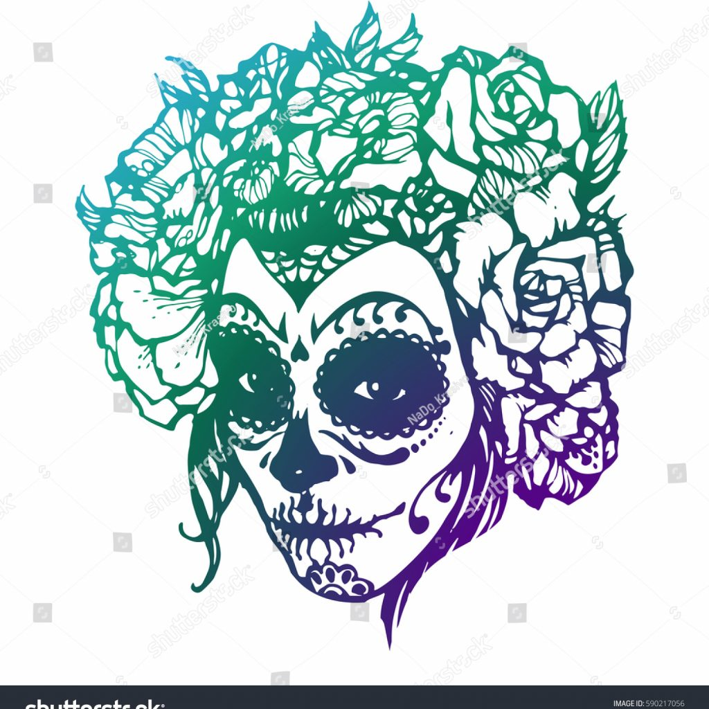 Santa Muerte Coloring Pages With Girl Skeleton Make Hand Drawn Vector Stock Royalty Free