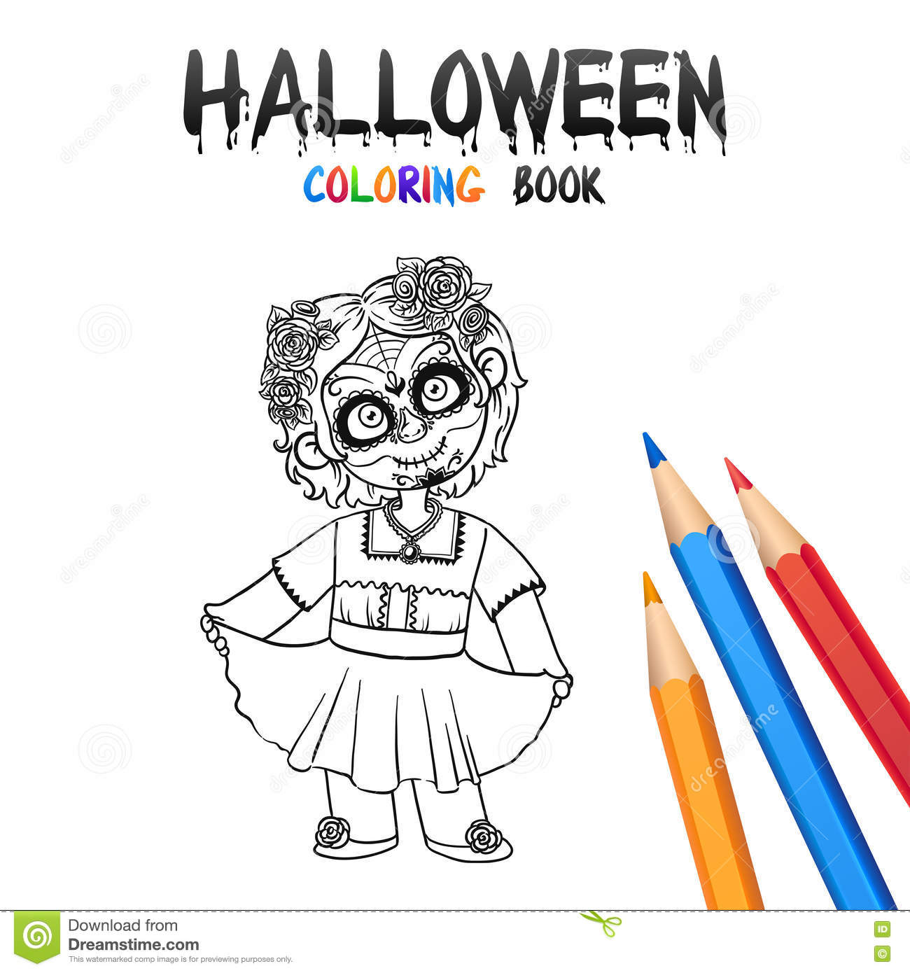 Santa Muerte Coloring Pages With Halloween Book Cute Baby Cartoon Character Stock Vector