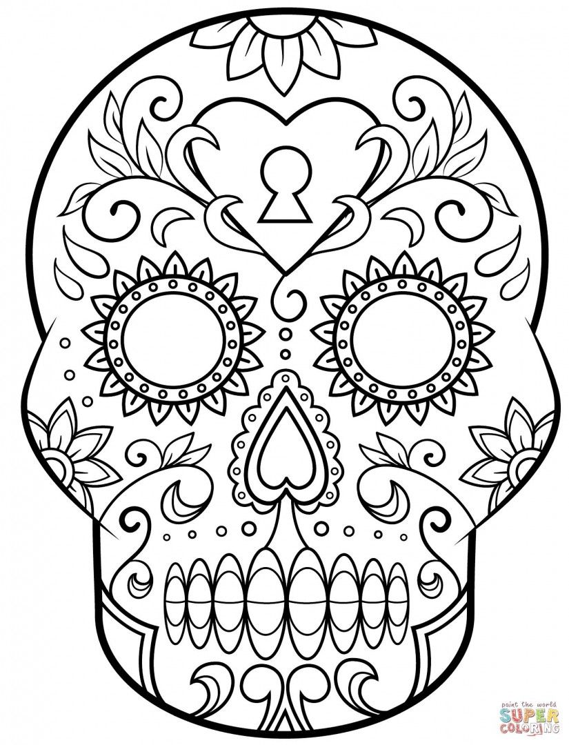 Santa Muerte Coloring Pages With Http Colorings Co Sugar Skull For Kids
