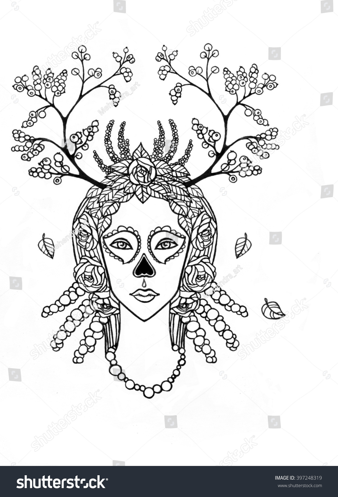 Santa Muerte Coloring Pages With Portrait Young Woman Skeleton Stock Illustration