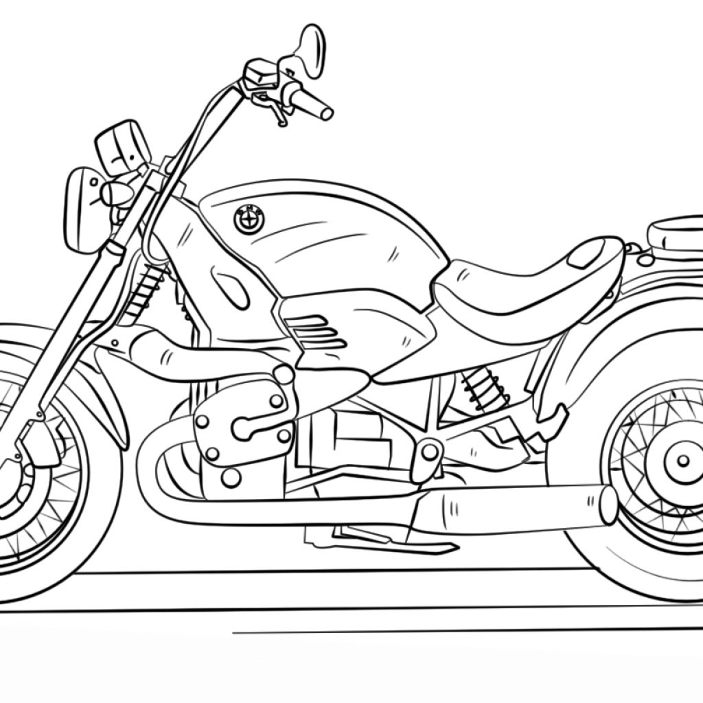 Santa On A Motorcycle Coloring Page With BMW Free Printable Pages