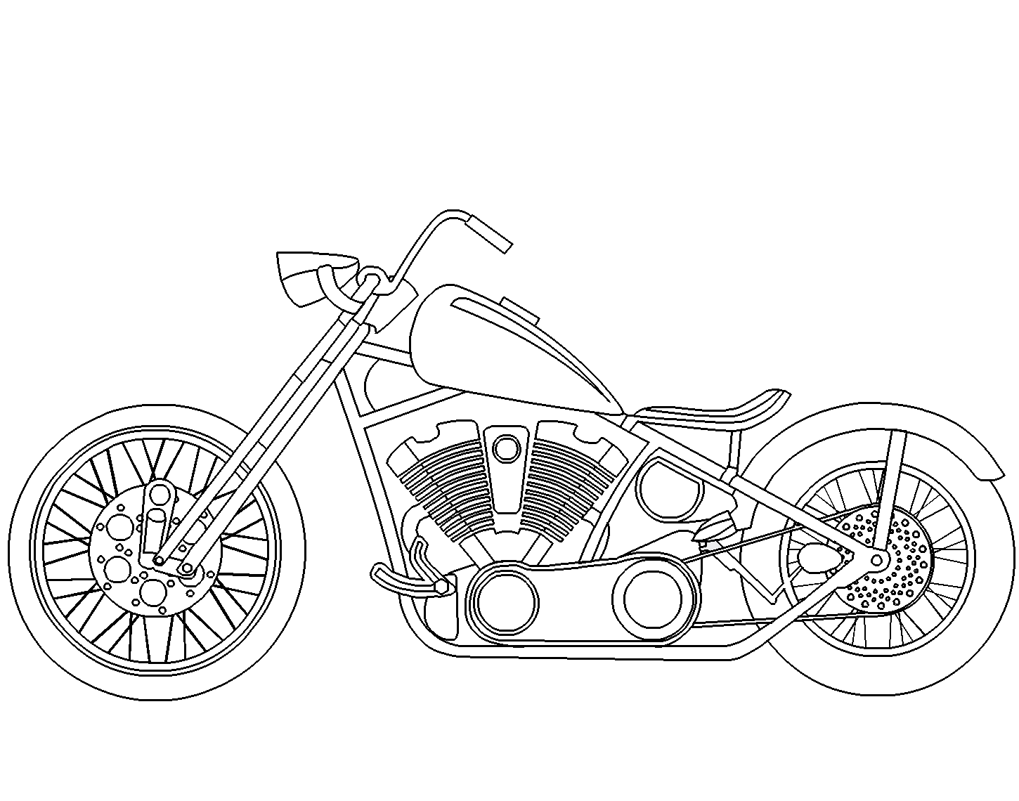 Santa On A Motorcycle Coloring Page With Chopper Free Online