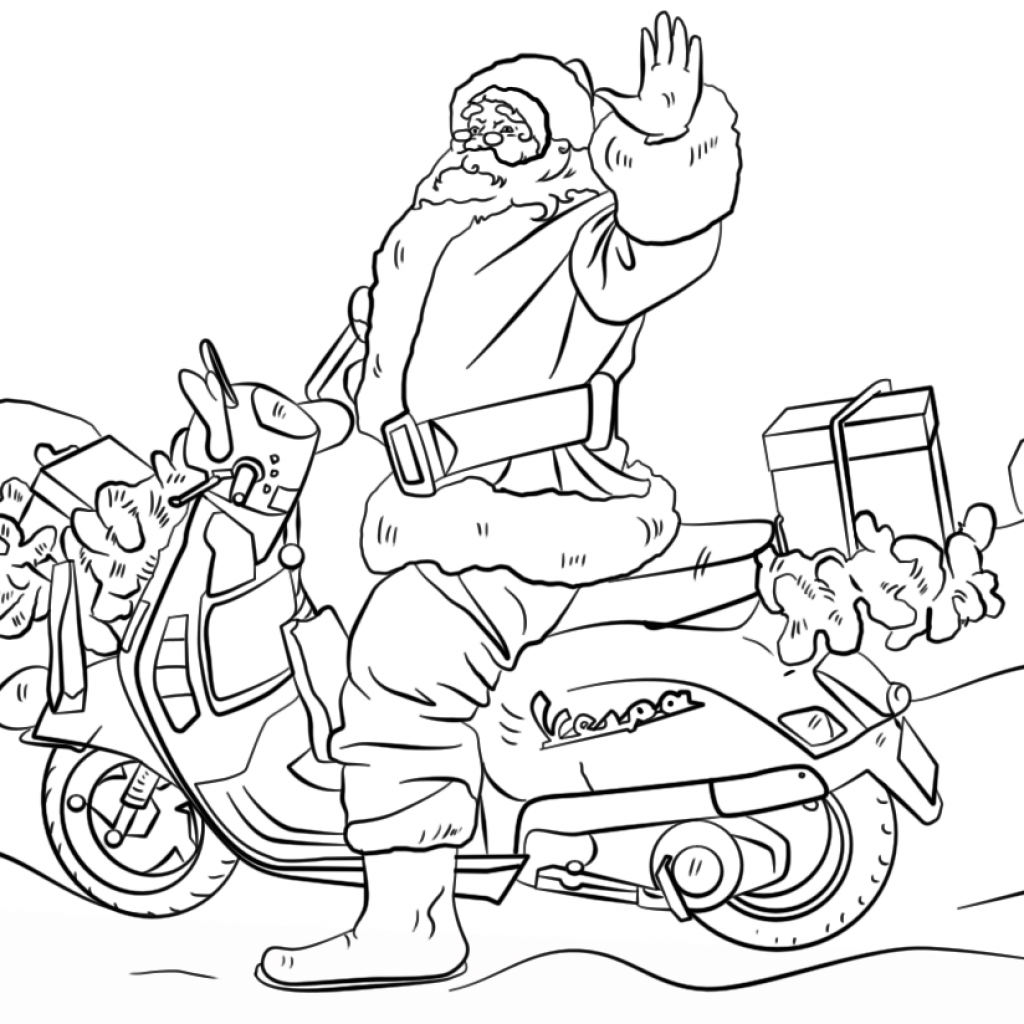 Santa On A Motorcycle Coloring Page With Free Printable Pages