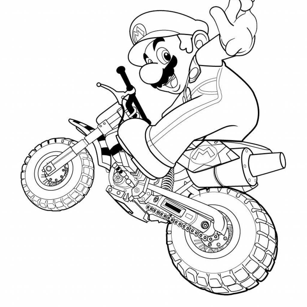 Santa On A Motorcycle Coloring Page With Happy Super Mario For Kids Pages