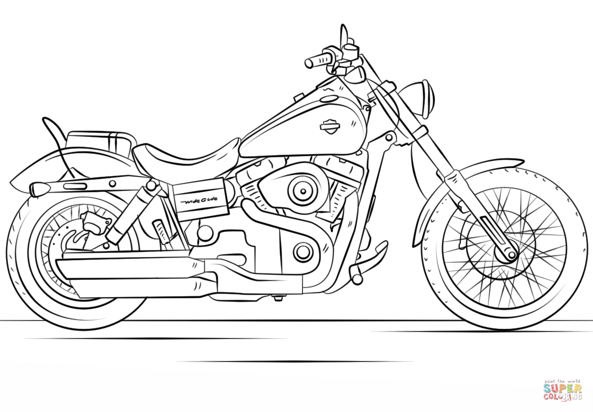 Santa On A Motorcycle Coloring Page With Harley Davidson Free Printable Pages
